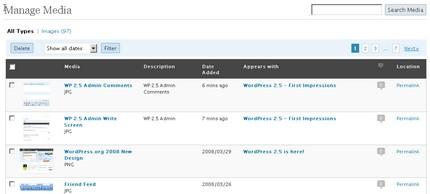 WP 2.5 Media Library Screen