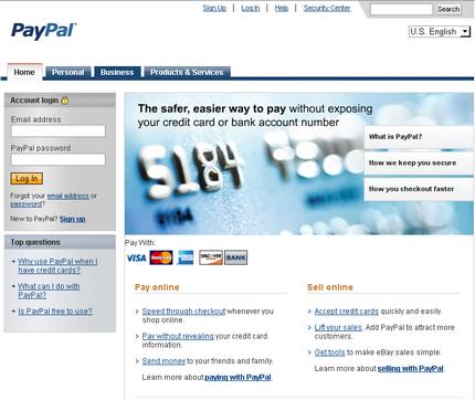 Fake Paypal site