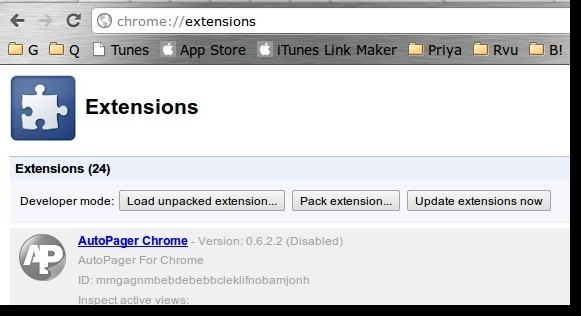 Manually Update Chrome extensions