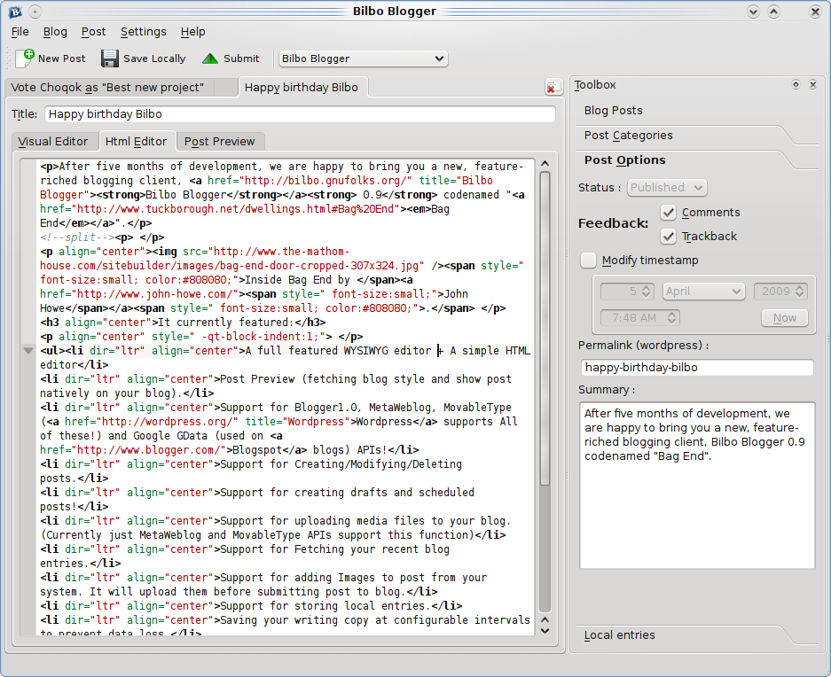 Blogilo windows Live writer linux alternative